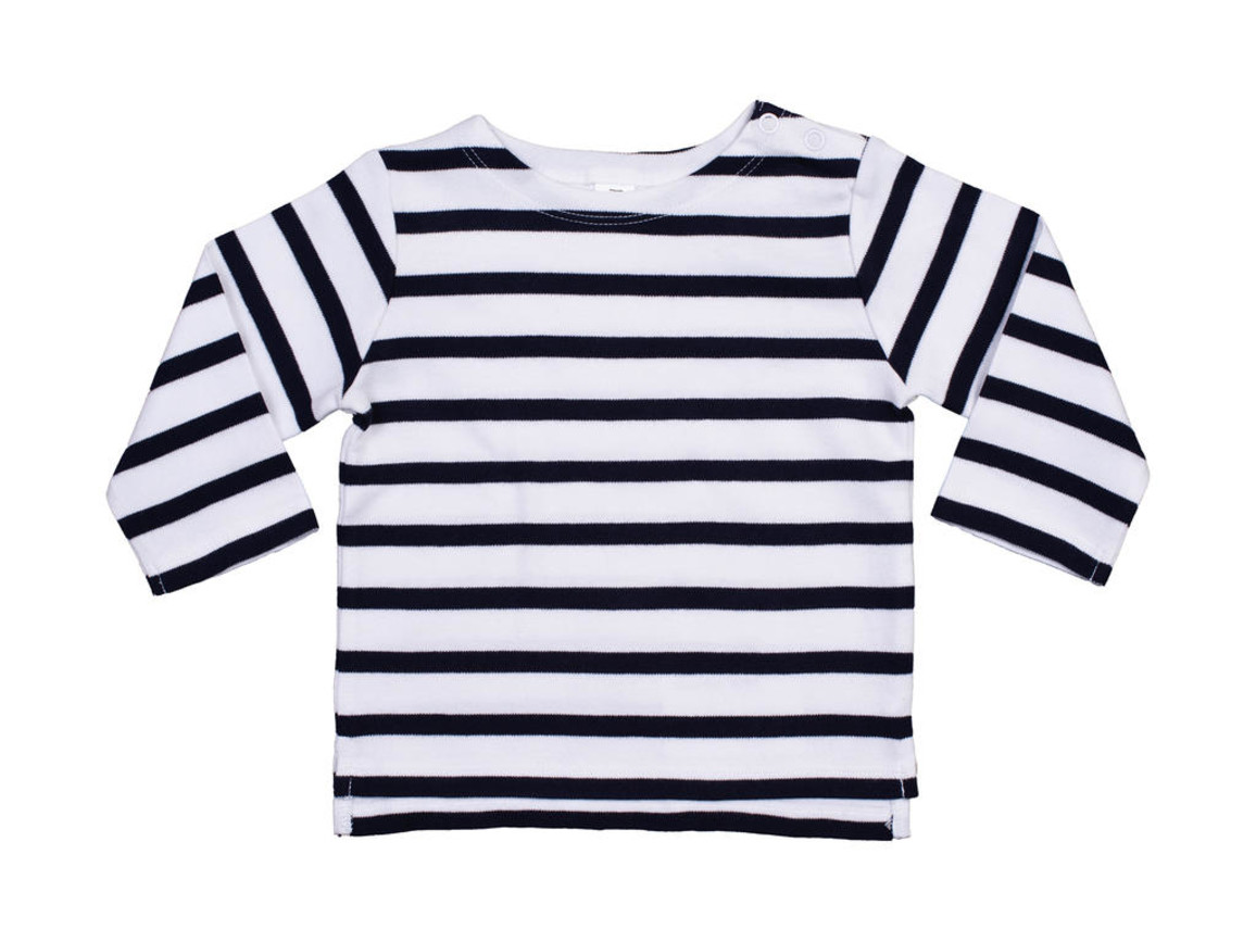 BabyBugz Baby Breton Top, White/Navy, 18-24 bedrucken, Art.-Nr. 056470525