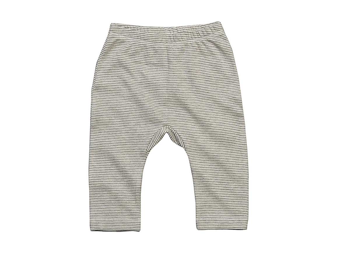 BabyBugz Baby Striped Leggings, White/Heather Grey Melange, 6-12 bedrucken, Art.-Nr. 061470703