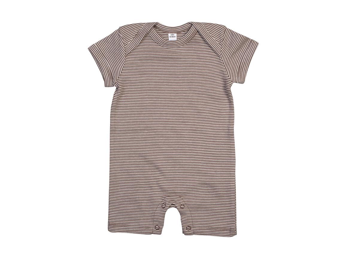 BabyBugz Baby Striped Playsuit, Organic Natural/Mocha, 6-12 bedrucken, Art.-Nr. 063470623