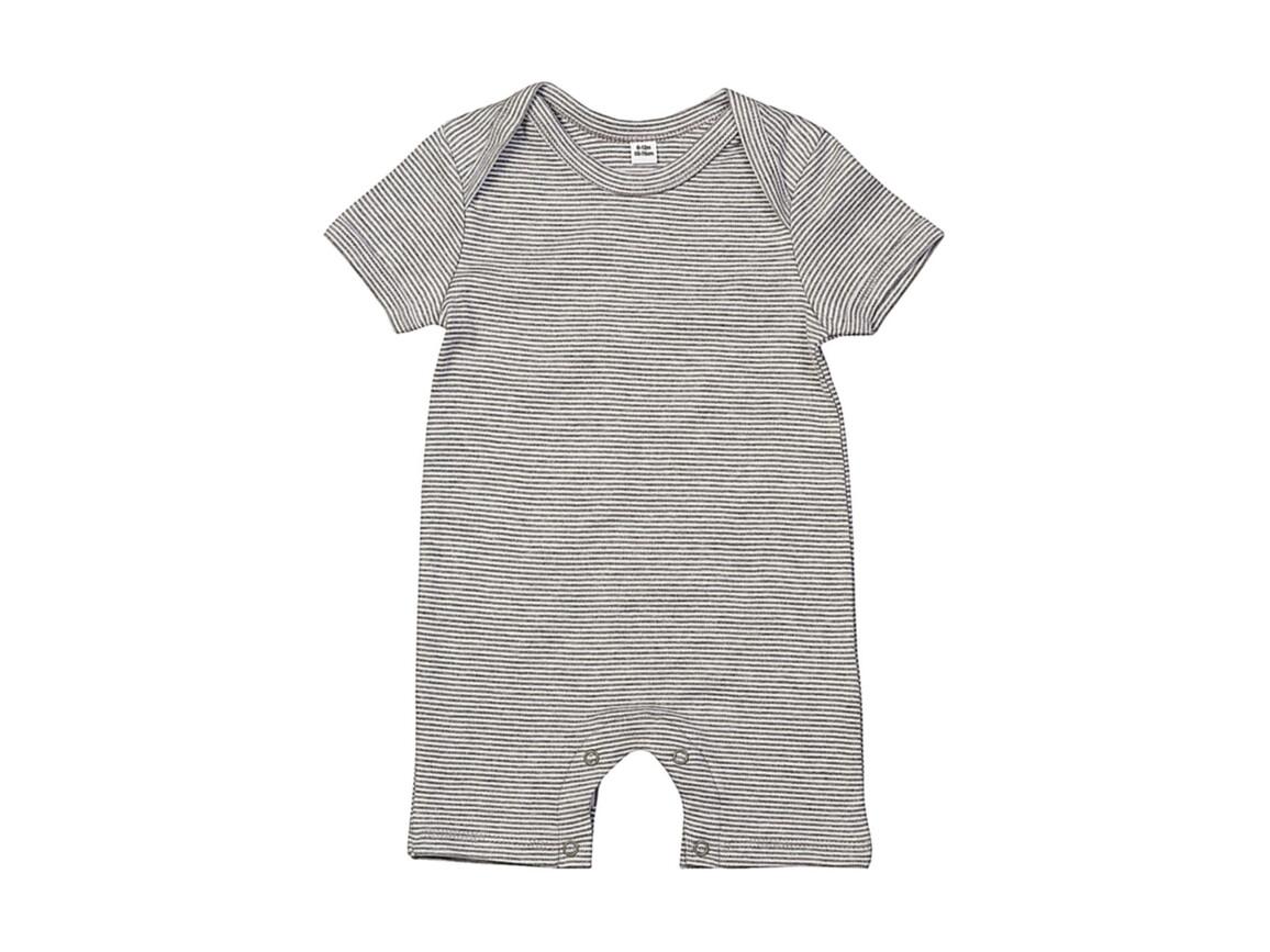 BabyBugz Baby Striped Playsuit, White/Heather Grey Melange, 12-18 bedrucken, Art.-Nr. 063470704