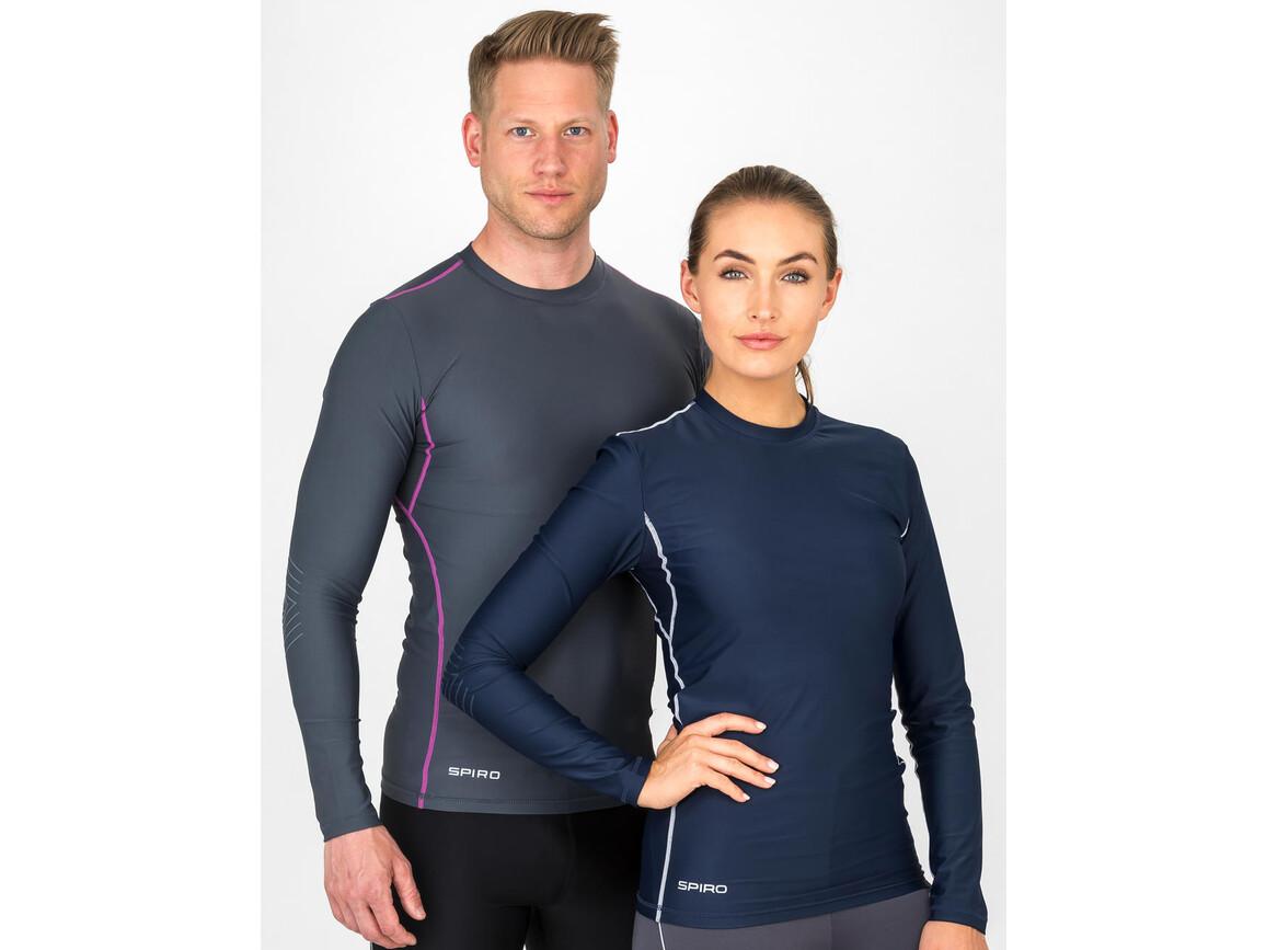 Result Compression Bodyfit Top LS, Navy/White, XS bedrucken, Art.-Nr. 070332522