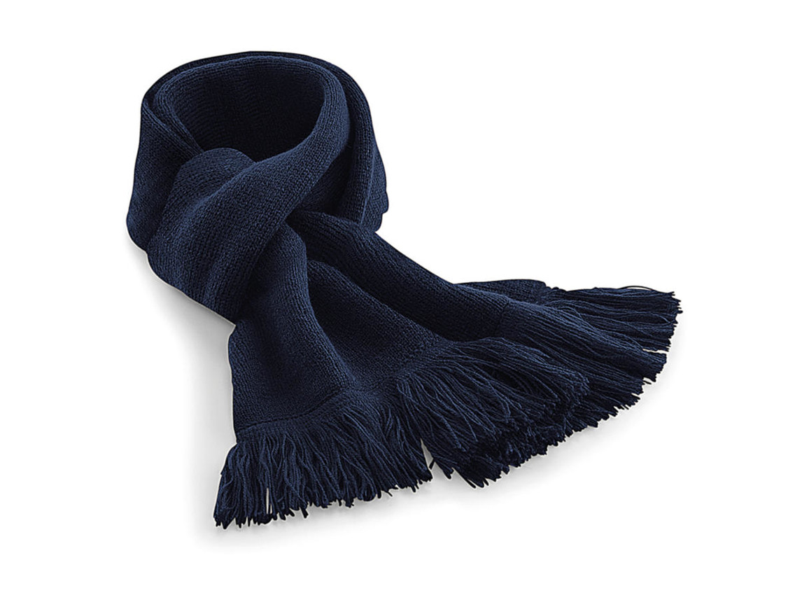 Beechfield Classic Knitted Scarf, French Navy, One Size bedrucken, Art.-Nr. 071692010