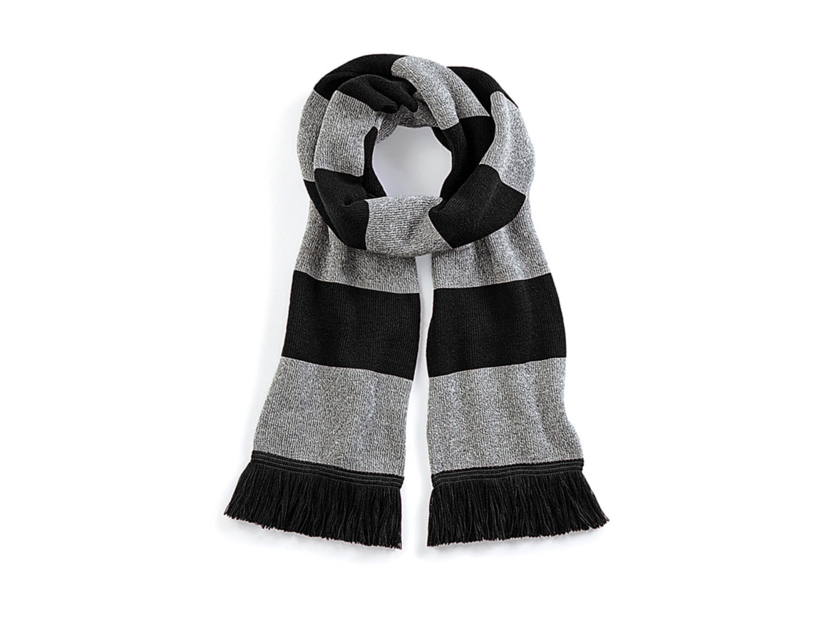 Beechfield Stadium Scarf, Black/Heather Grey, One Size bedrucken, Art.-Nr. 072691710