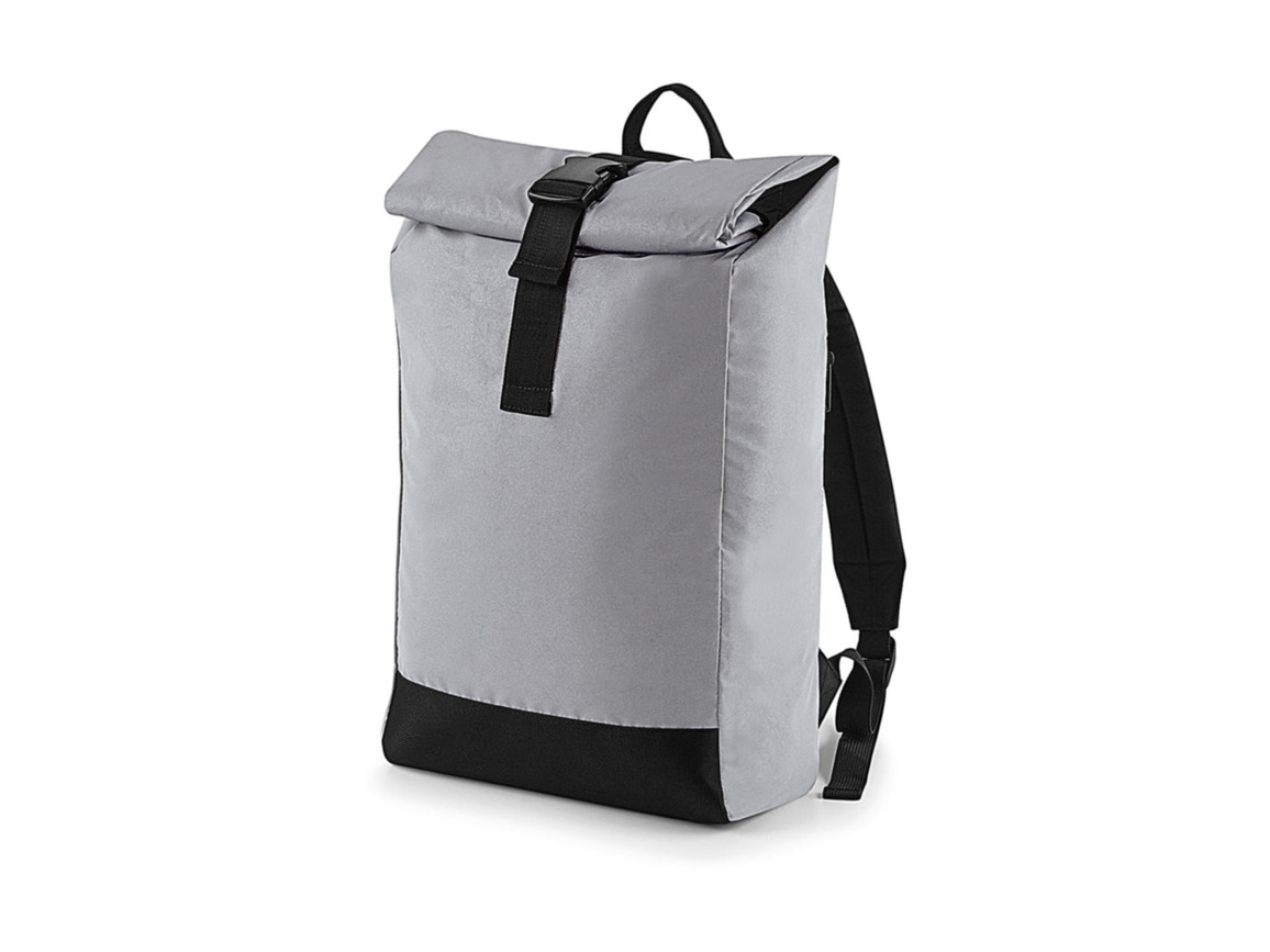 Bag Base Reflective Roll-Top Backpack, Silver Reflective, One Size bedrucken, Art.-Nr. 075297160