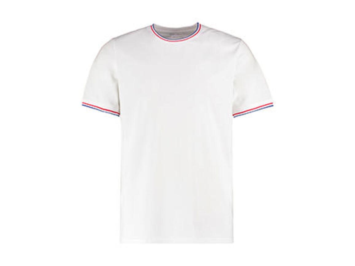 Kustom Kit Fashion Fit Tipped Tee, White/Red/Royal, L bedrucken, Art.-Nr. 107110835