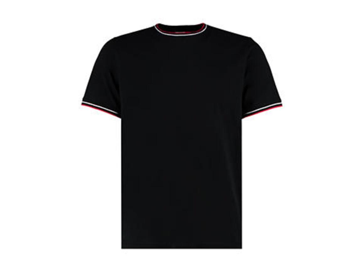 Kustom Kit Fashion Fit Tipped Tee, Black/White/Red, L bedrucken, Art.-Nr. 107111825