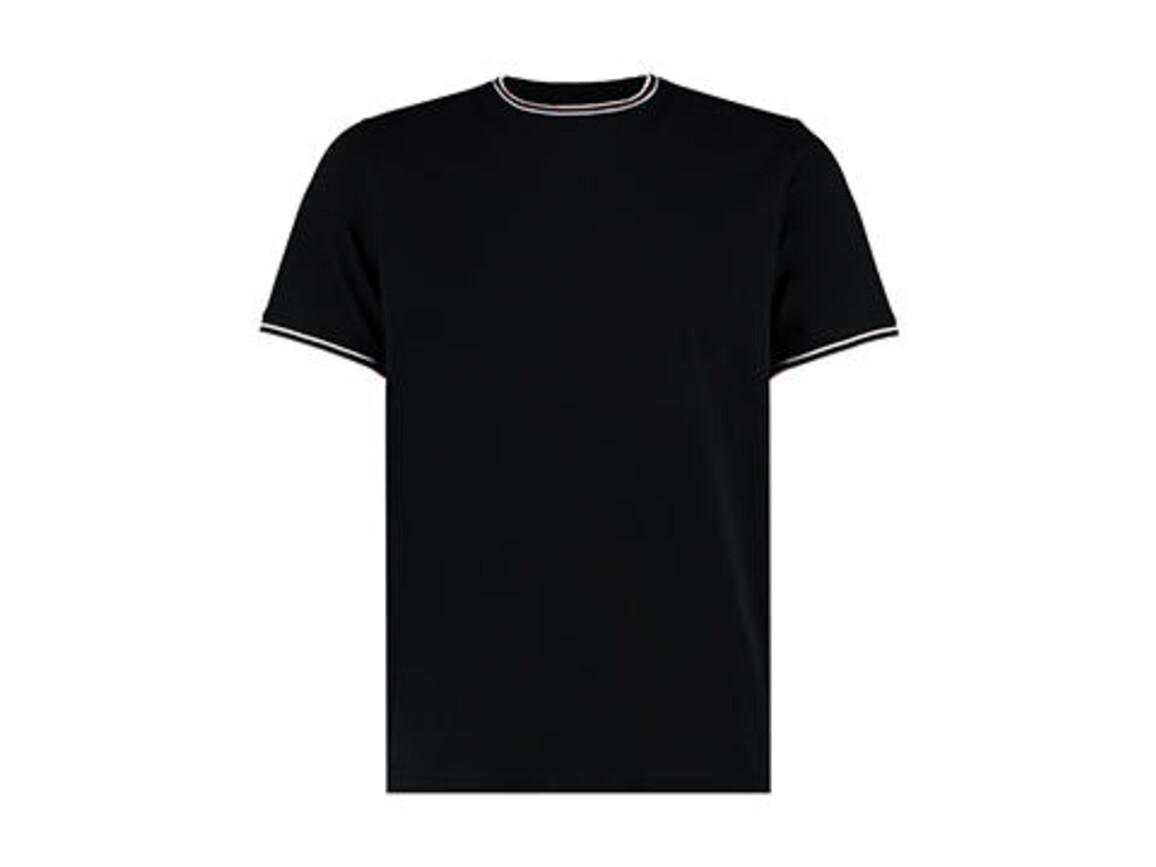 Kustom Kit Fashion Fit Tipped Tee, Black/White/Grey, 2XL bedrucken, Art.-Nr. 107111917