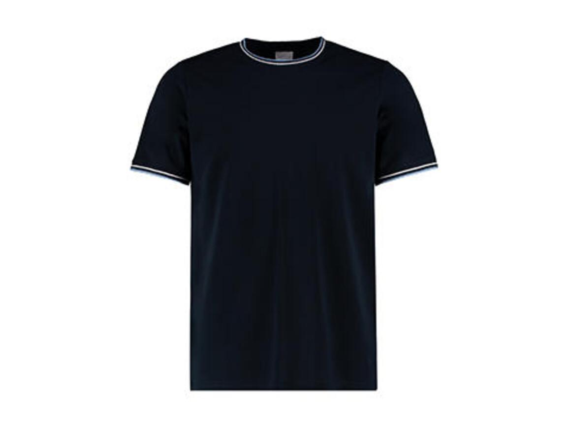Kustom Kit Fashion Fit Tipped Tee, Navy/White/Light Blue, XL bedrucken, Art.-Nr. 107112546
