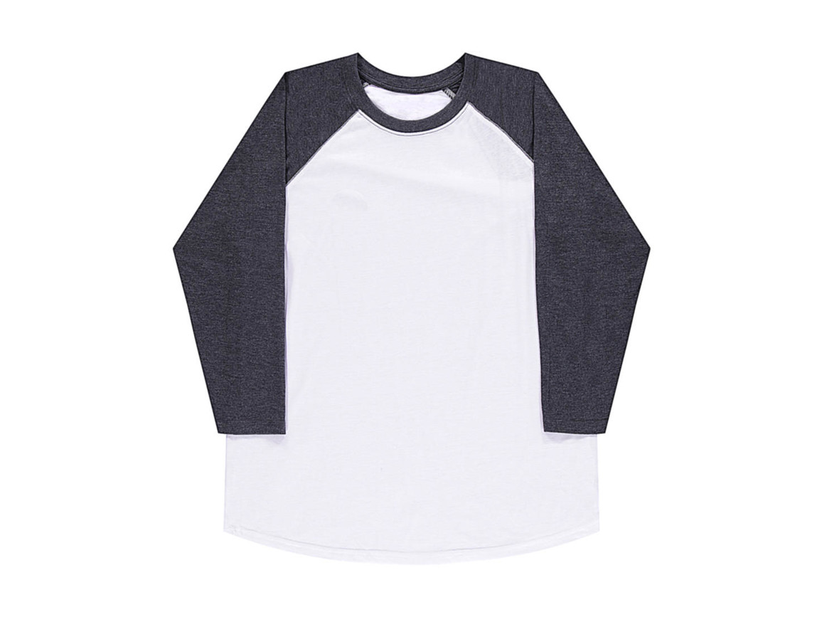 nakedshirt Jesse Unisex Baseball T-Shirt, White/Vintage Charcoal, L bedrucken, Art.-Nr. 108850515