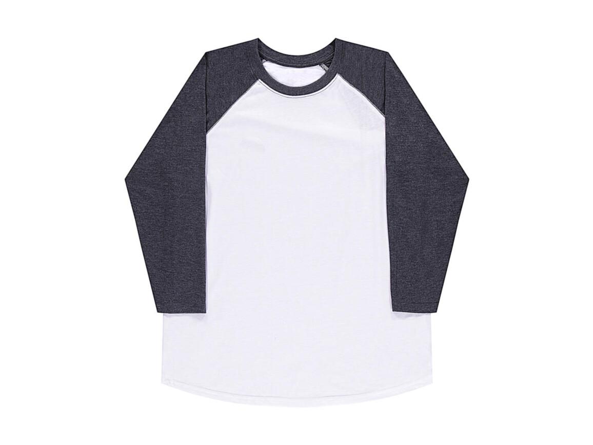 nakedshirt Jesse Unisex Baseball T-Shirt, White/Vintage Charcoal, XS bedrucken, Art.-Nr. 108850512
