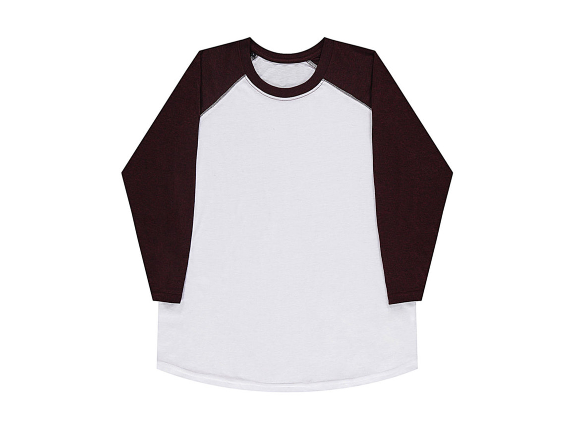 nakedshirt Jesse Unisex Baseball T-Shirt, White/Double Dyed Flame, L bedrucken, Art.-Nr. 108850545