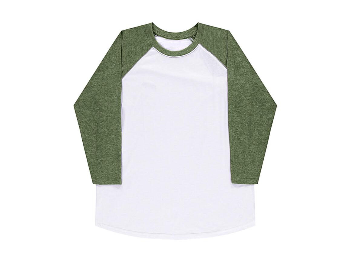 nakedshirt Jesse Unisex Baseball T-Shirt, White/Vintage Grass, 2XL bedrucken, Art.-Nr. 108850557