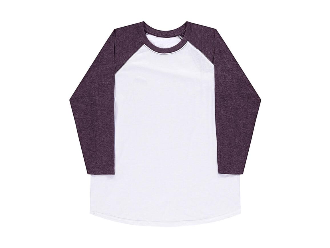 nakedshirt Jesse Unisex Baseball T-Shirt, White/Vintage Purple, 3XL bedrucken, Art.-Nr. 108850588
