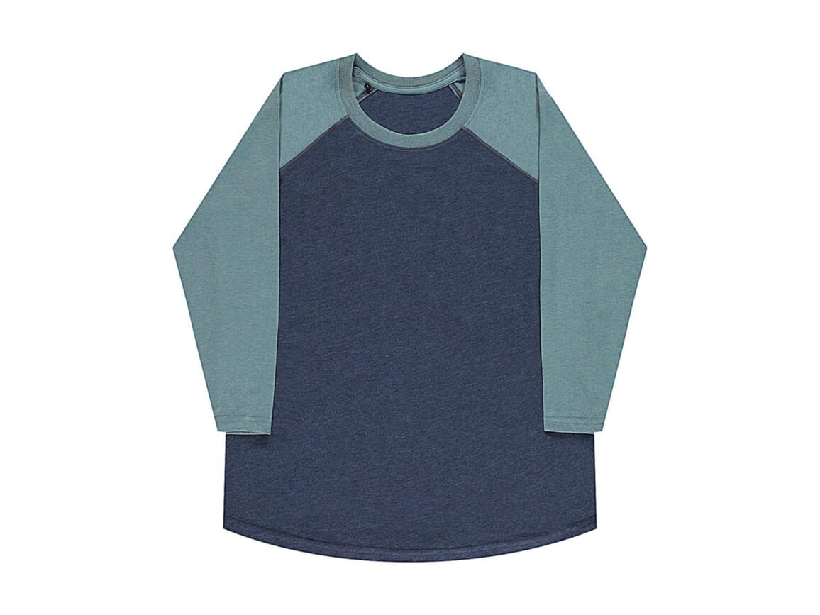 nakedshirt Jesse Unisex Baseball T-Shirt, Denim Blue/Double Dyed Seafoam, XL bedrucken, Art.-Nr. 108853556