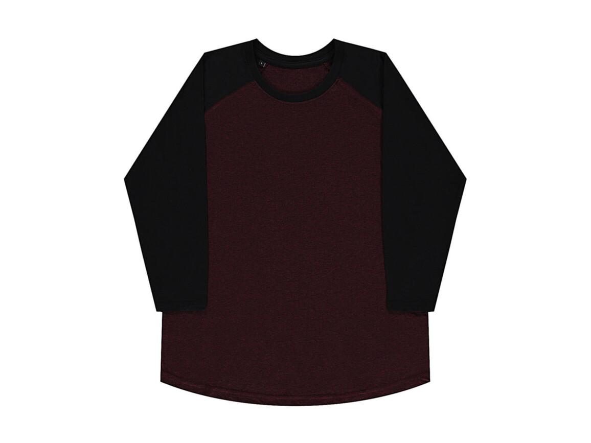 nakedshirt Jesse Unisex Baseball T-Shirt, Double Dyed Flame/ Deep Black, XS bedrucken, Art.-Nr. 108854512
