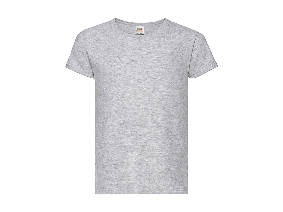 Fruit of the Loom Girls Valueweight T, Heather Grey, 140 (9-11) bedrucken, Art.-Nr. 181011236