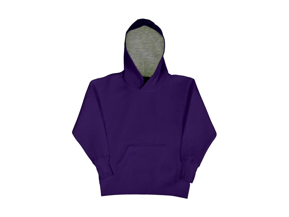 SG Kids` Contrast Hoodie, Purple/Light Oxford, 128 (7-8/L) bedrucken, Art.-Nr. 280523565