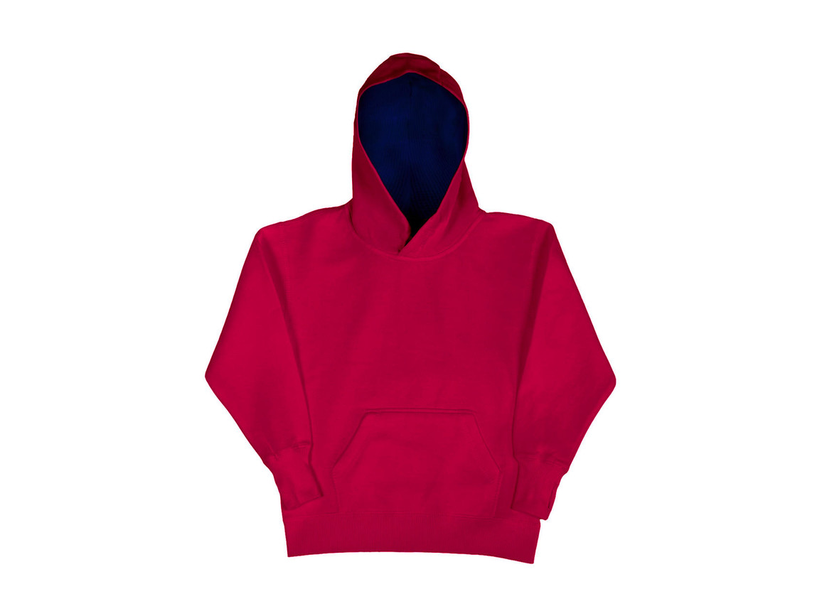 SG Kids` Contrast Hoodie, Dark Pink/Navy, 104 (3-4/S) bedrucken, Art.-Nr. 280524663