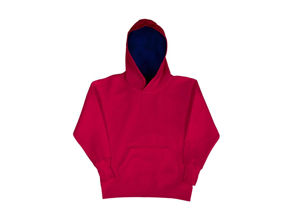 SG Kids` Contrast Hoodie, Dark Pink/Navy, 128 (7-8/L) bedrucken, Art.-Nr. 280524665