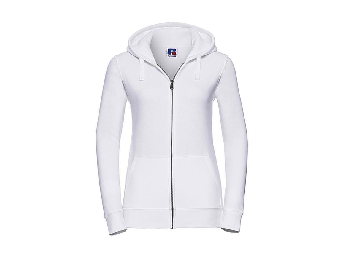 Russell Europe Ladies` Authentic Zipped Hood, White, L bedrucken, Art.-Nr. 283000005