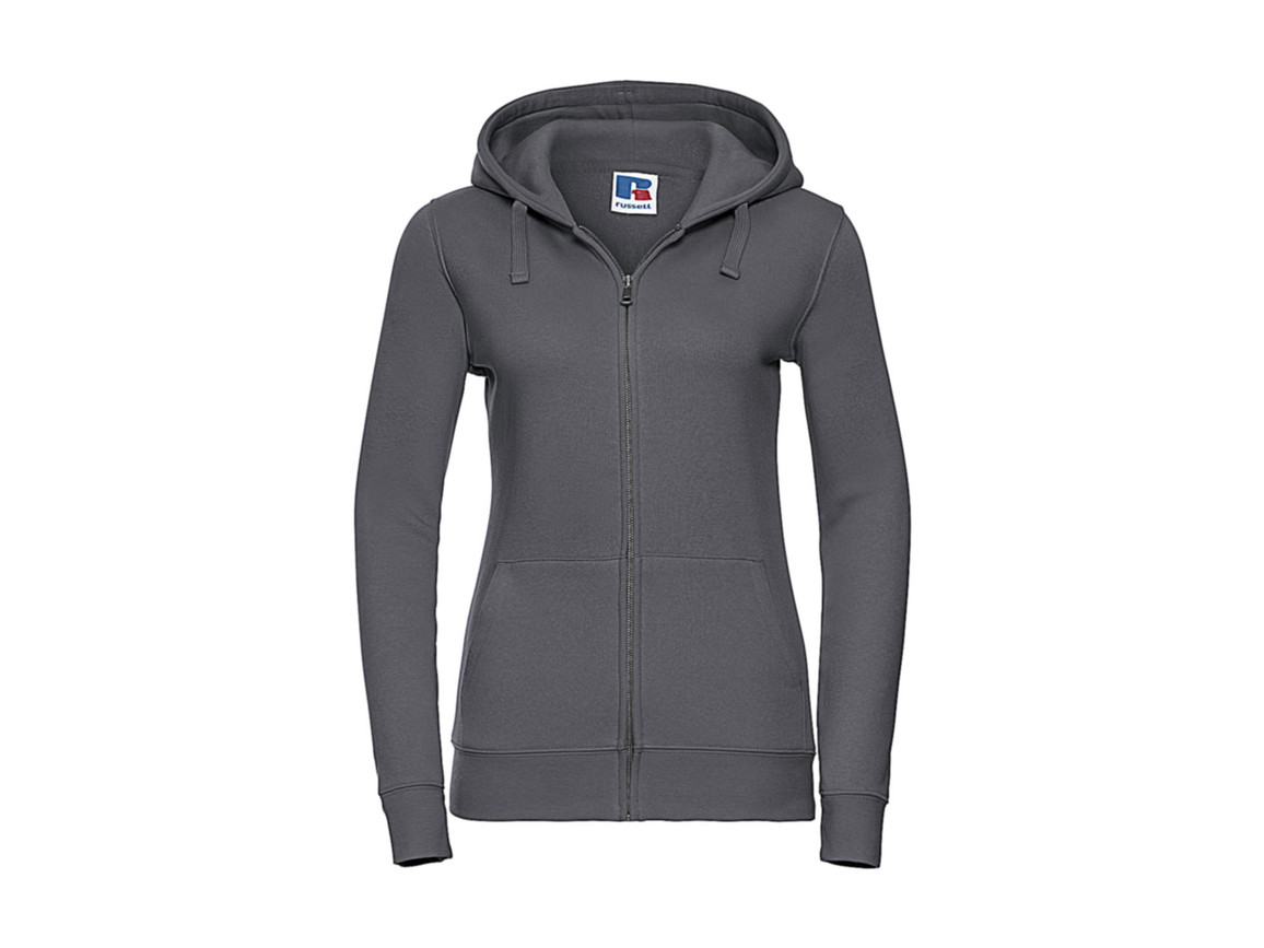 Russell Europe Ladies` Authentic Zipped Hood, Convoy Grey, XL bedrucken, Art.-Nr. 283001276