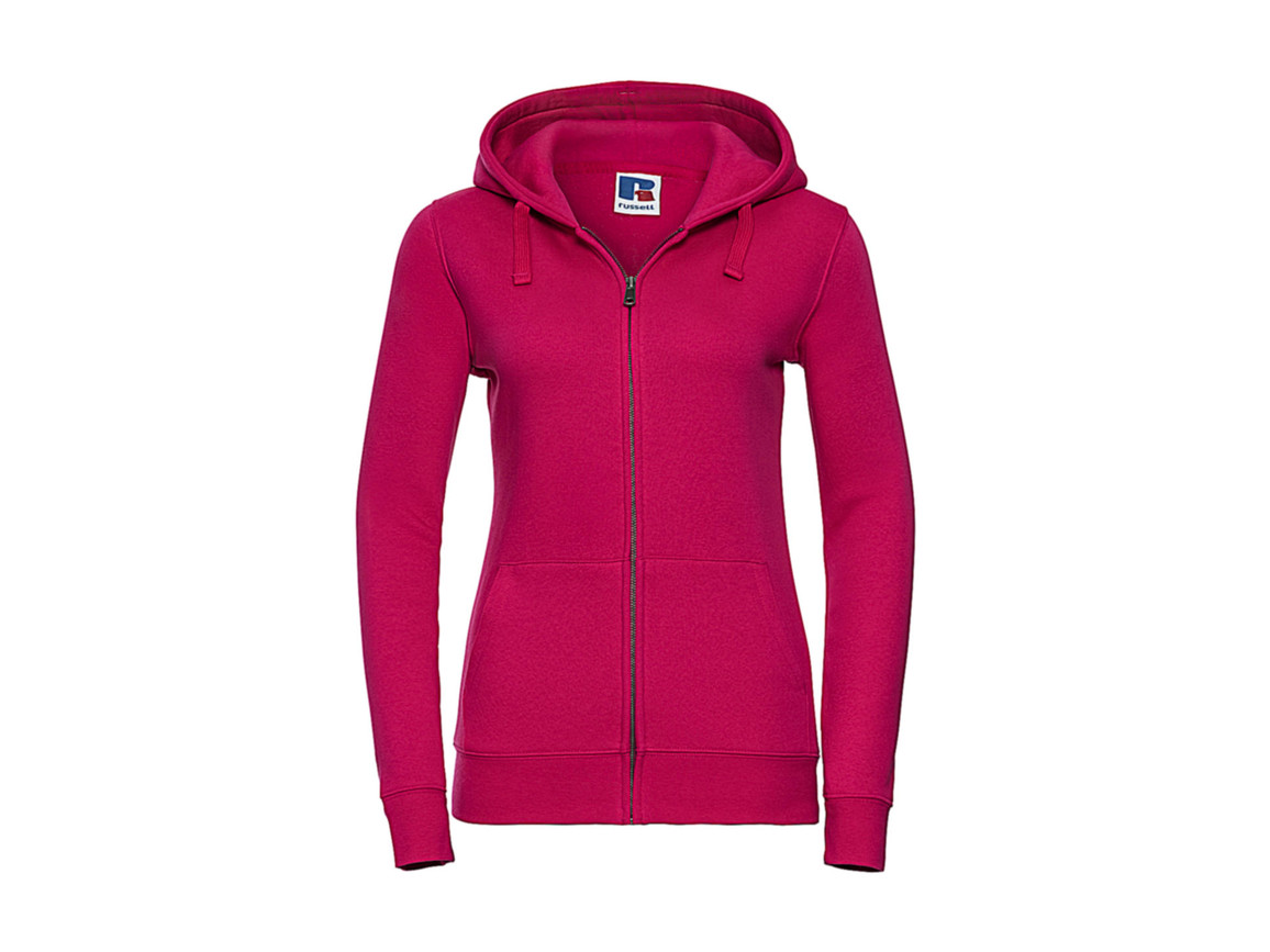 Russell Europe Ladies` Authentic Zipped Hood, Fuchsia, XS bedrucken, Art.-Nr. 283004392