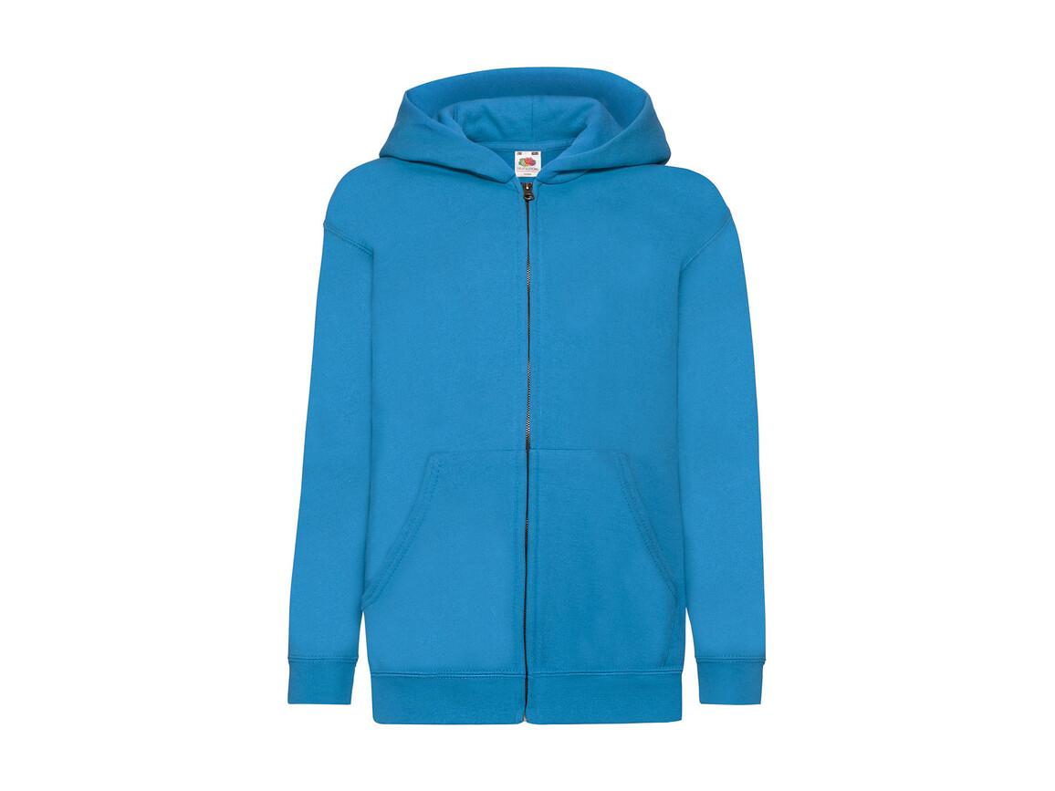 Fruit of the Loom Kids` Classic Hooded Sweat Jacket, Azure Blue, 164 (14-15) bedrucken, Art.-Nr. 299013108