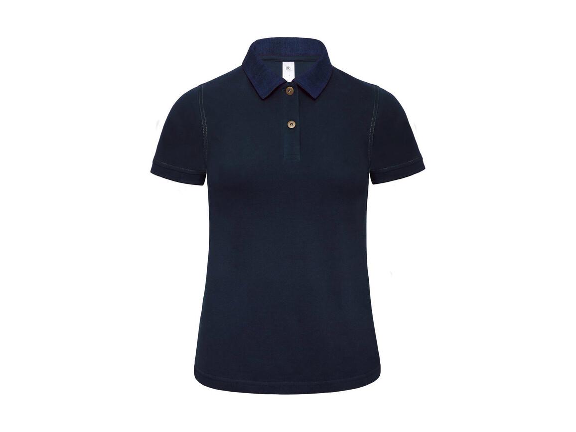 B & C Ladies` Denim Collar Polo - PWD31, Denim/Navy, XS bedrucken, Art.-Nr. 581422682