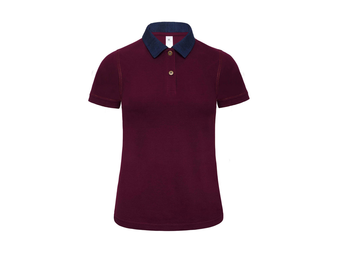 B & C Ladies` Denim Collar Polo - PWD31, Denim/Burgundy, XS bedrucken, Art.-Nr. 581424672