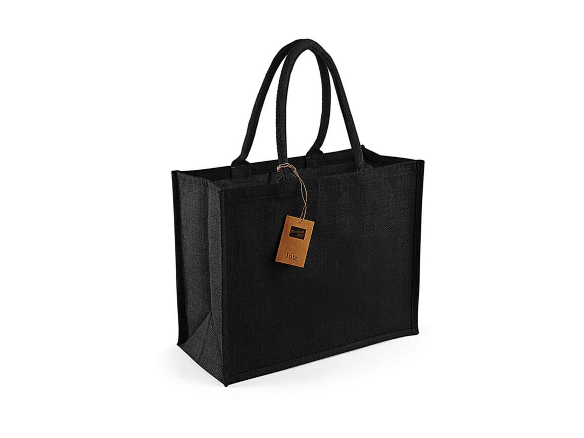 Westford Mill Classic Jute Shopper, Black/Black, One Size bedrucken, Art.-Nr. 607281520
