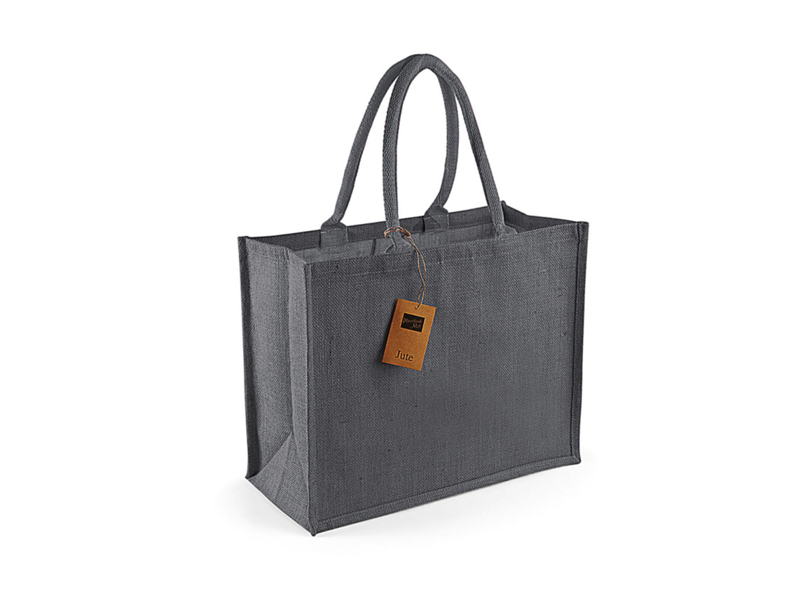 Westford Mill Classic Jute Shopper, Graphite Grey/Graphite Grey, One Size bedrucken, Art.-Nr. 607281590