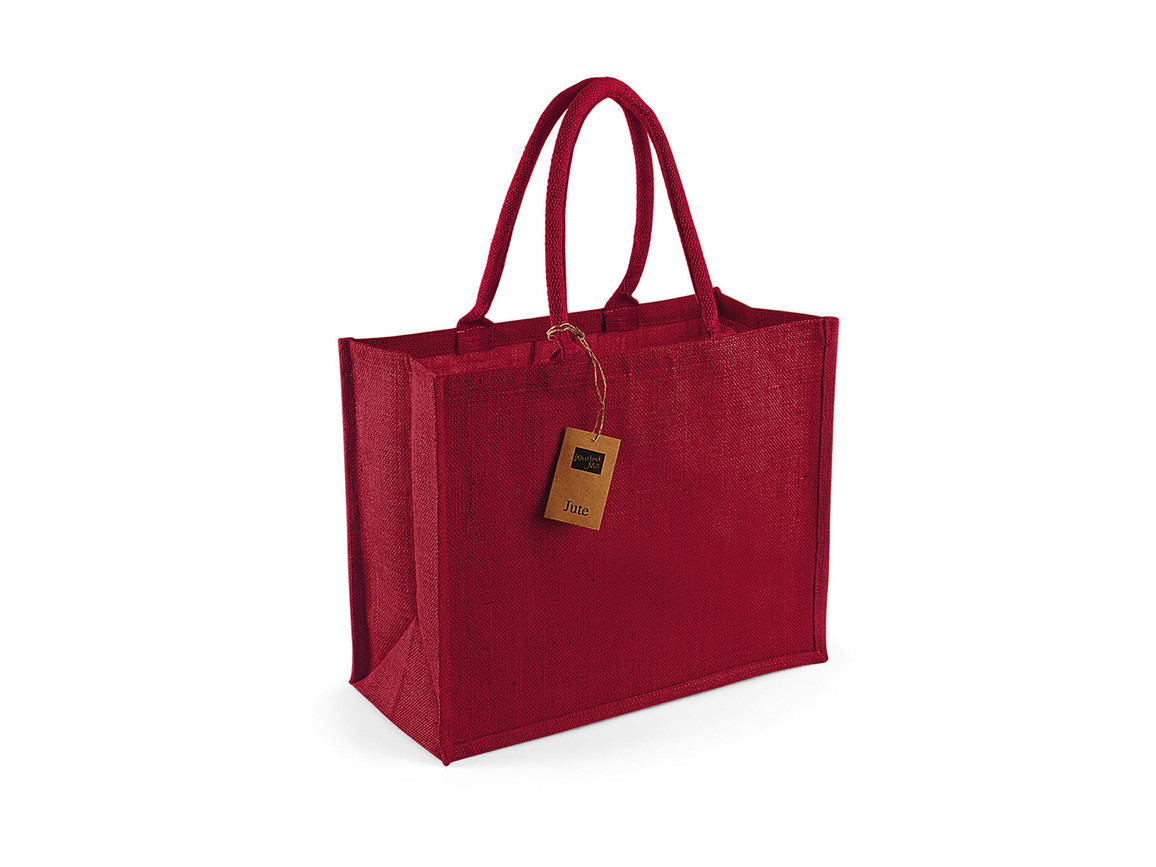 Westford Mill Classic Jute Shopper, Red/Red, One Size bedrucken, Art.-Nr. 607284540