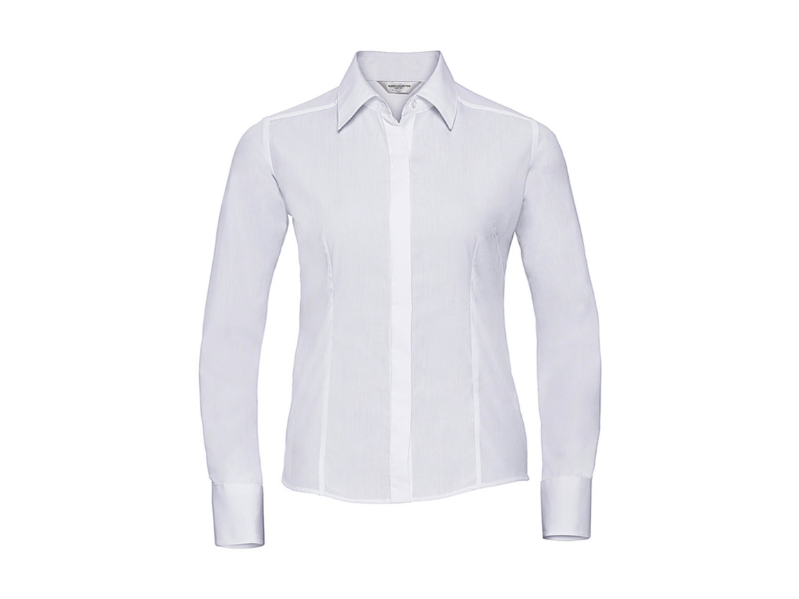 Russell Europe Ladies` LS Poplin Shirt, White, 4XL bedrucken, Art.-Nr. 712000009