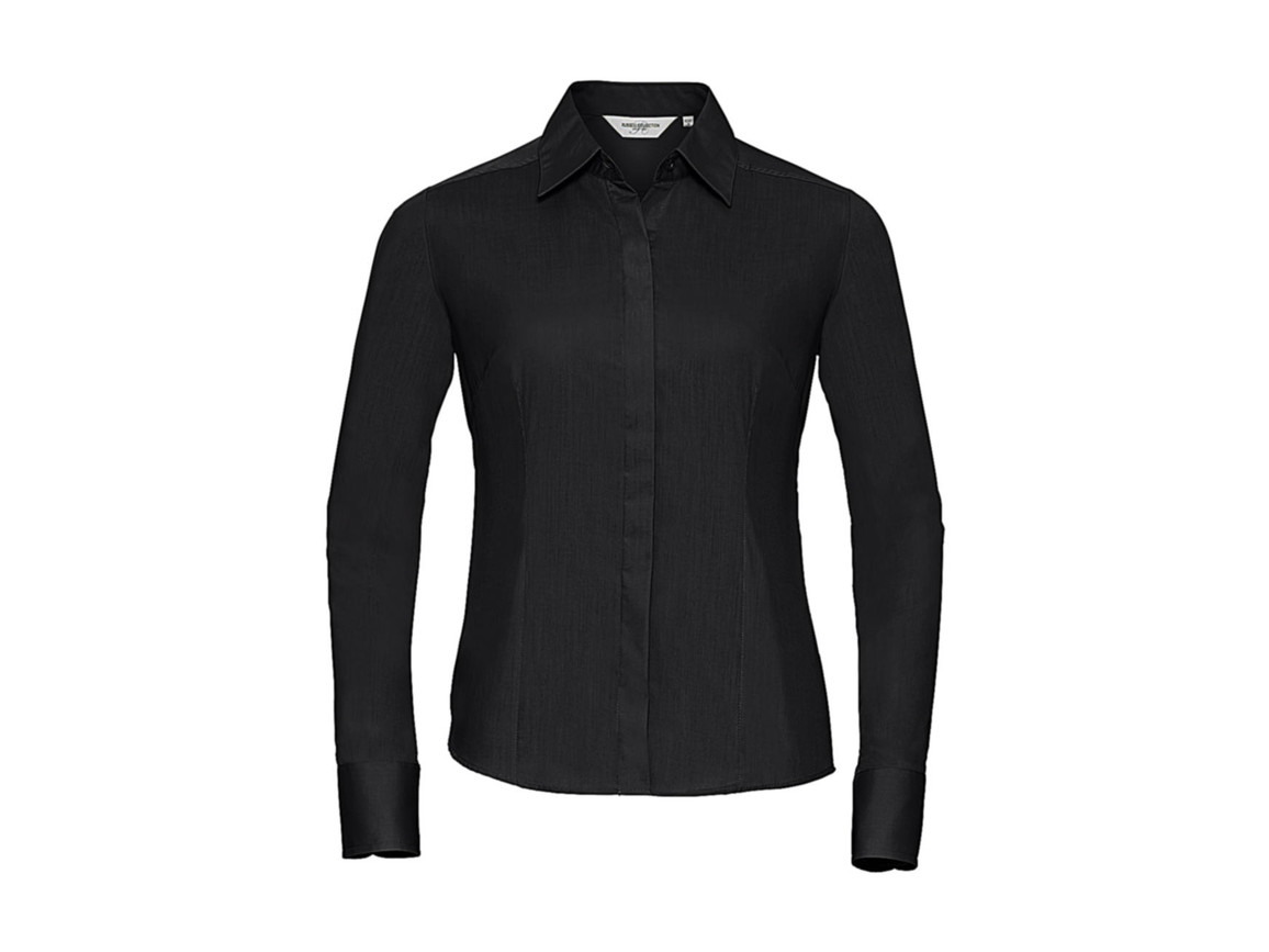 Russell Europe Ladies` LS Poplin Shirt, Black, M bedrucken, Art.-Nr. 712001014