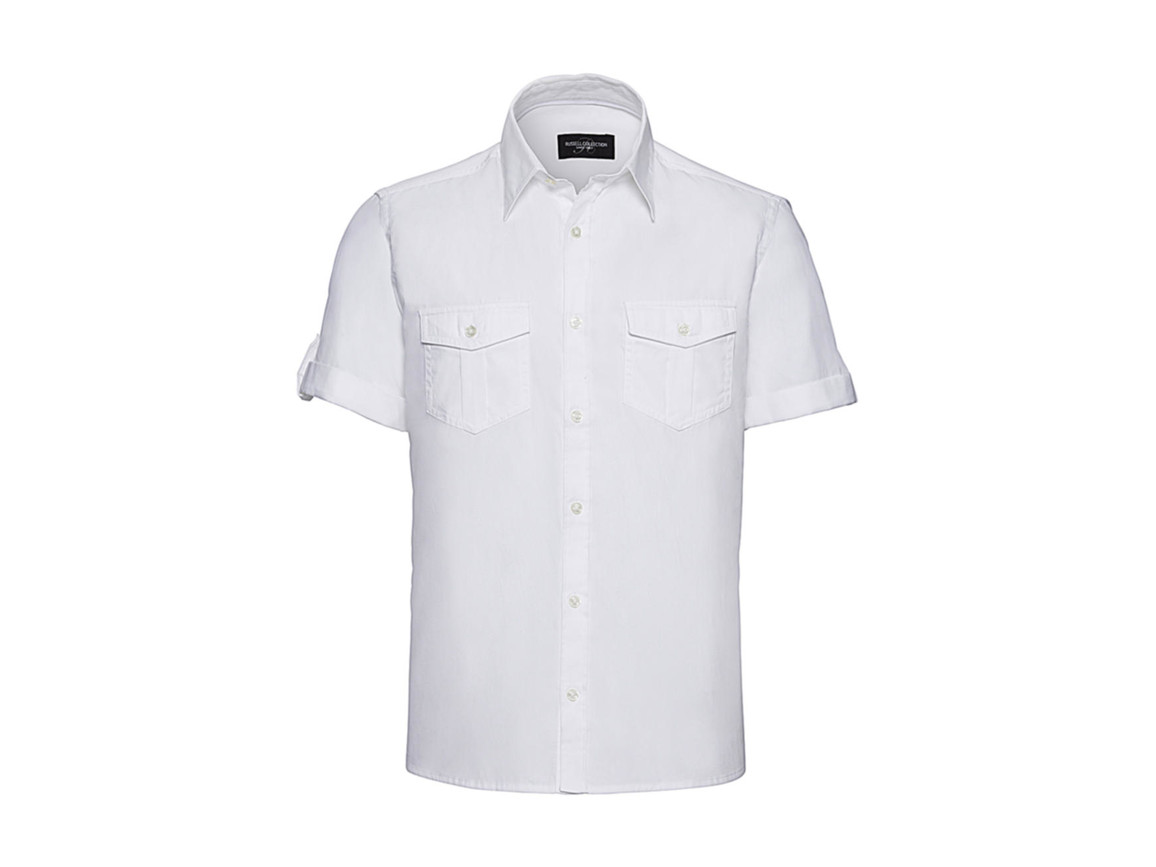 Russell Europe Men`s Roll Sleeve Shirt, White, M bedrucken, Art.-Nr. 719000002