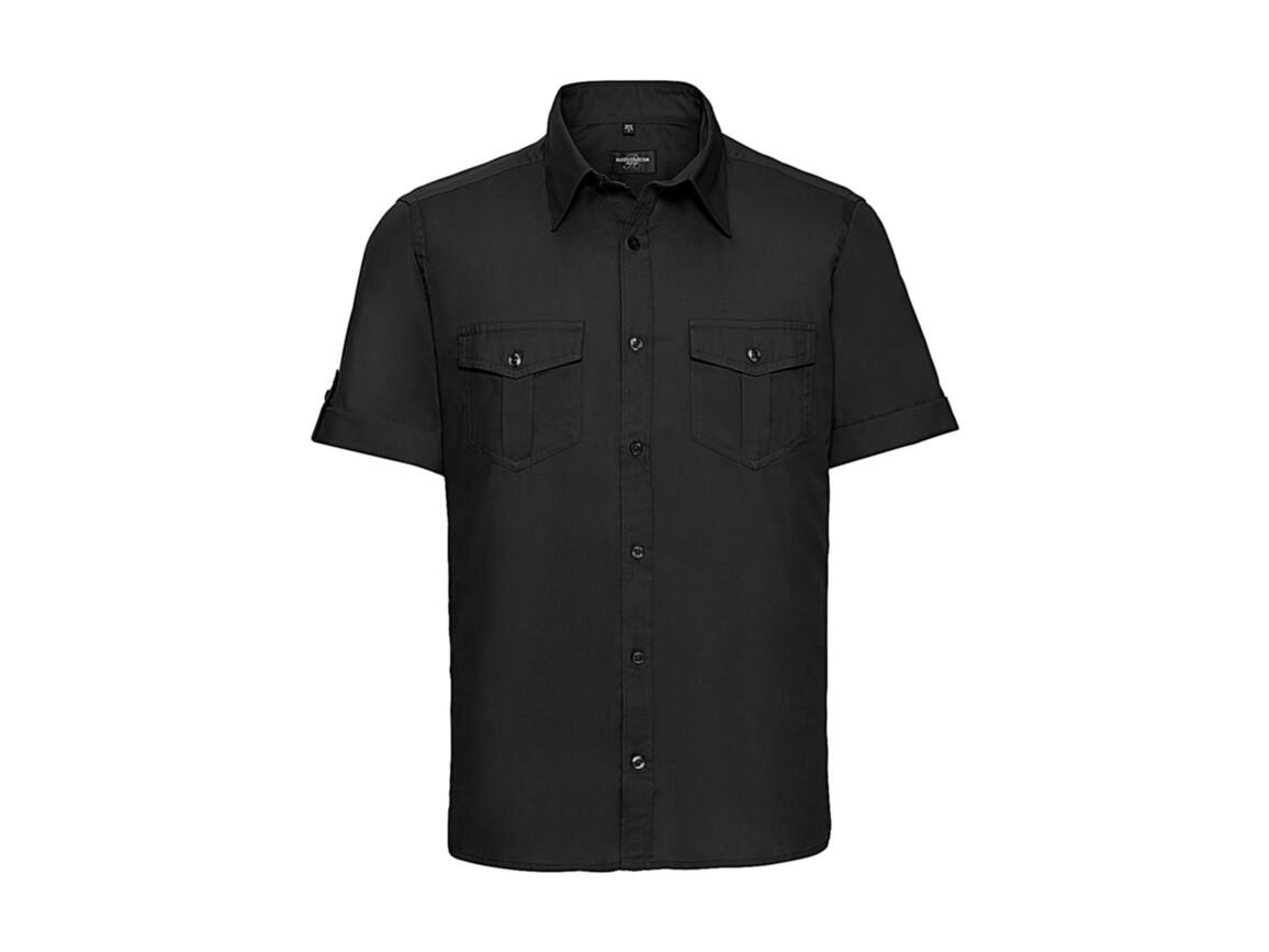 Russell Europe Men`s Roll Sleeve Shirt, Black, S bedrucken, Art.-Nr. 719001011