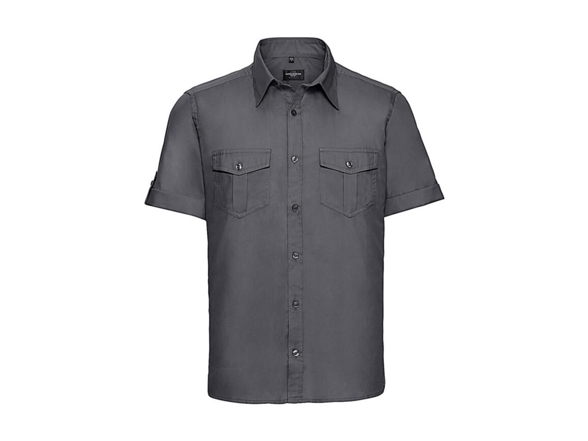 Russell Europe Men`s Roll Sleeve Shirt, Zinc, 3XL bedrucken, Art.-Nr. 719001126