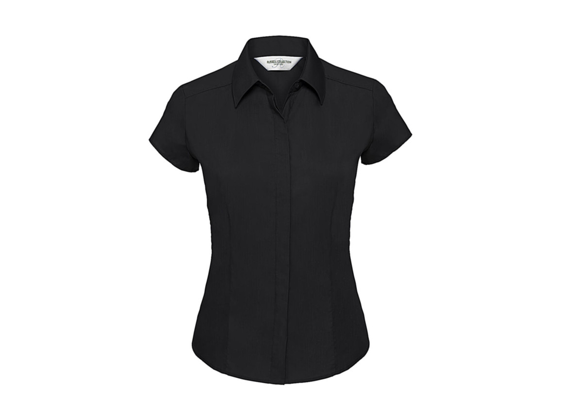 Russell Europe Ladies` Poplin Shirt, Black, M bedrucken, Art.-Nr. 729001014