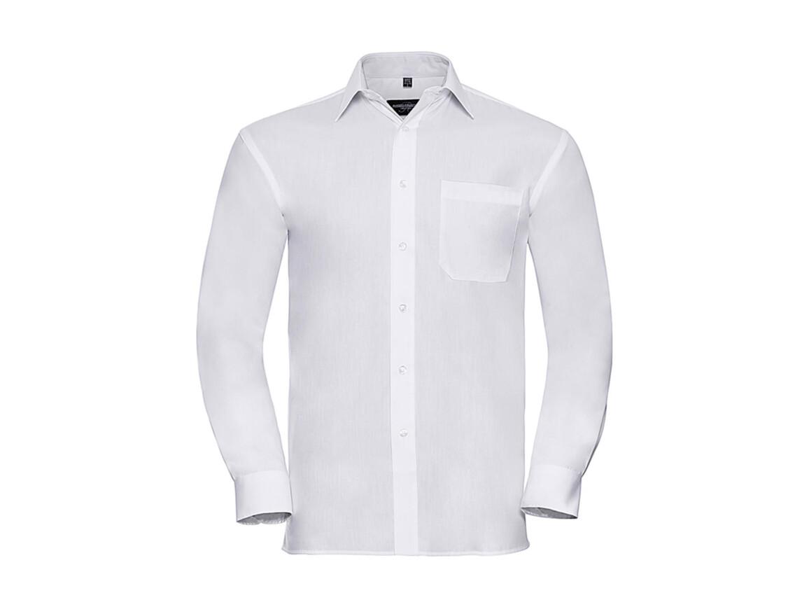 Russell Europe Cotton Poplin Shirt LS, White, S bedrucken, Art.-Nr. 736000001