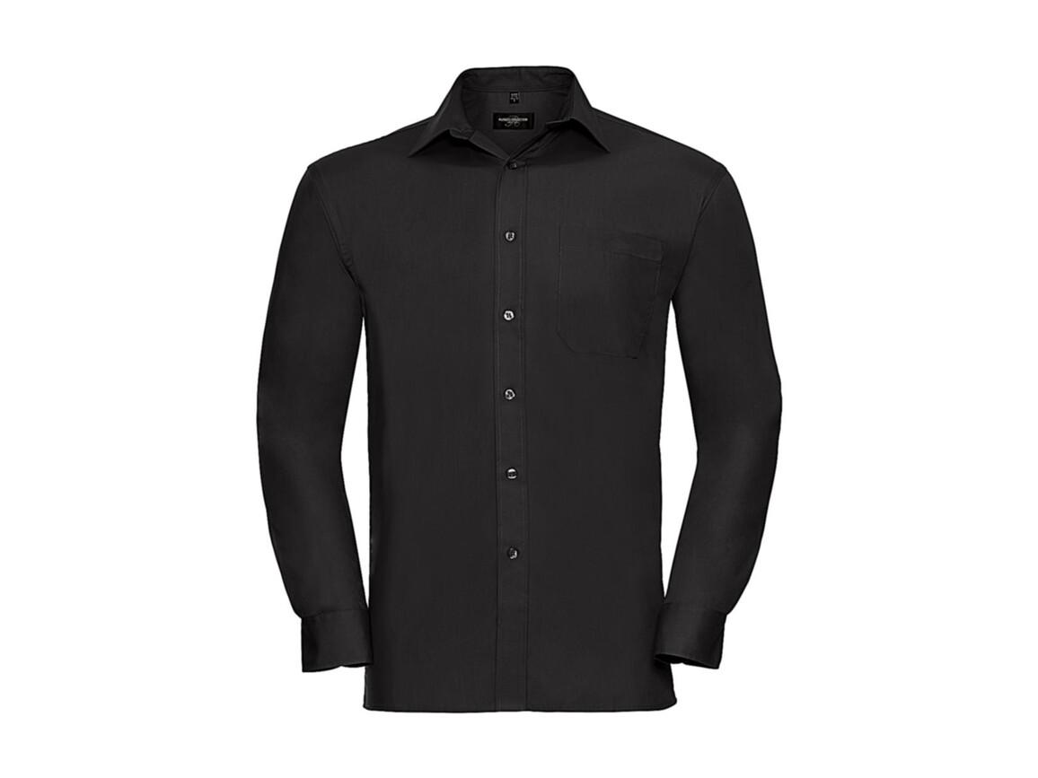 Russell Europe Cotton Poplin Shirt LS, Black, 2XL bedrucken, Art.-Nr. 736001015