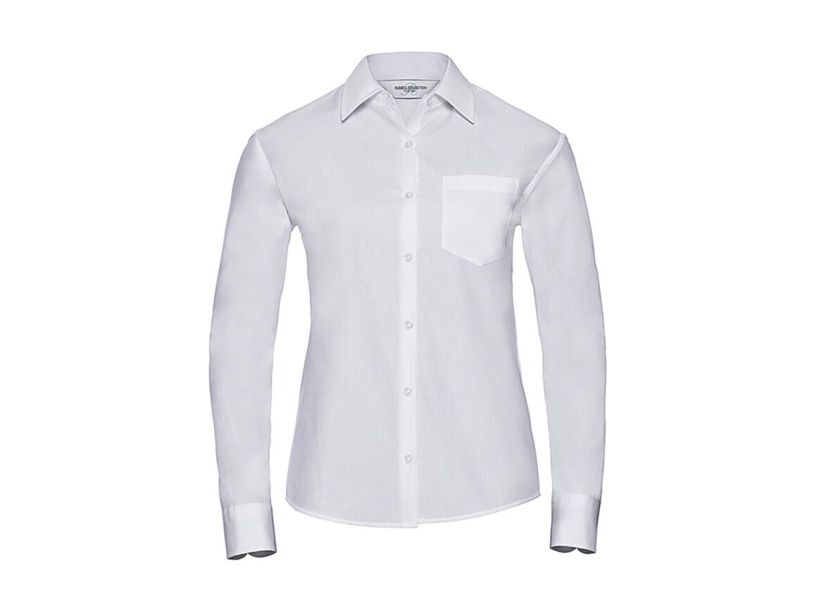 Russell Europe Ladies` Cotton Poplin Shirt LS, White, 2XL (44) bedrucken, Art.-Nr. 746000007
