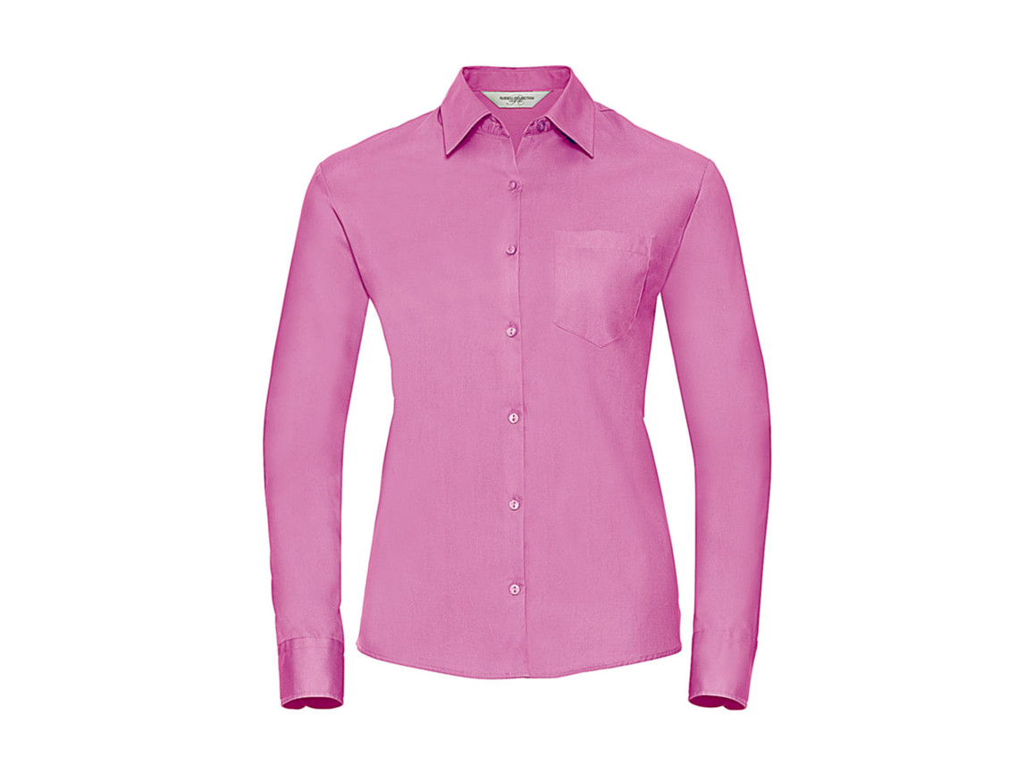 Russell Europe Ladies` Cotton Poplin Shirt LS, Bright Pink, 2XL (44) bedrucken, Art.-Nr. 746004217