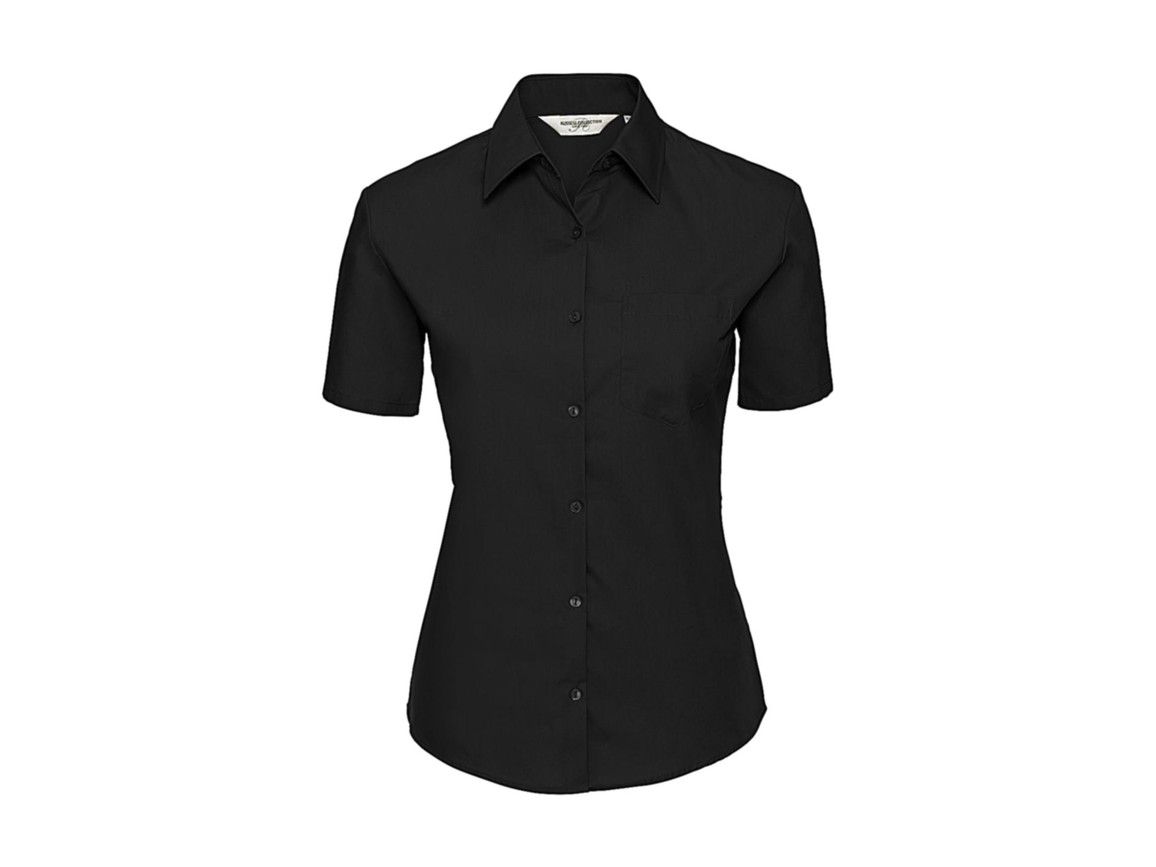 Russell Europe Ladies` Cotton Poplin Shirt, Black, L (40) bedrucken, Art.-Nr. 747001015