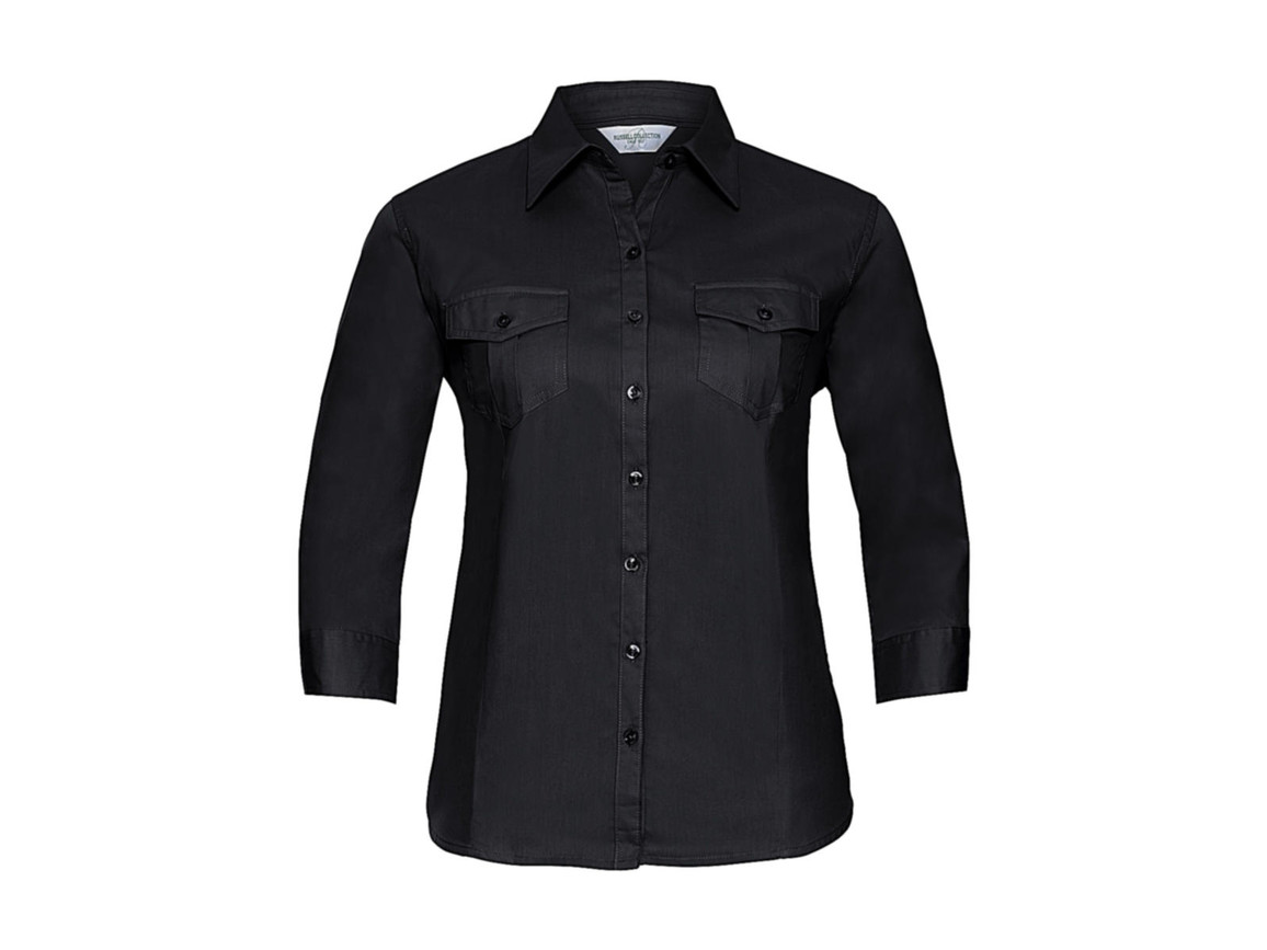 Russell Europe Ladies` Roll 3/4 Sleeve Shirt, Black, M (38) bedrucken, Art.-Nr. 748001014