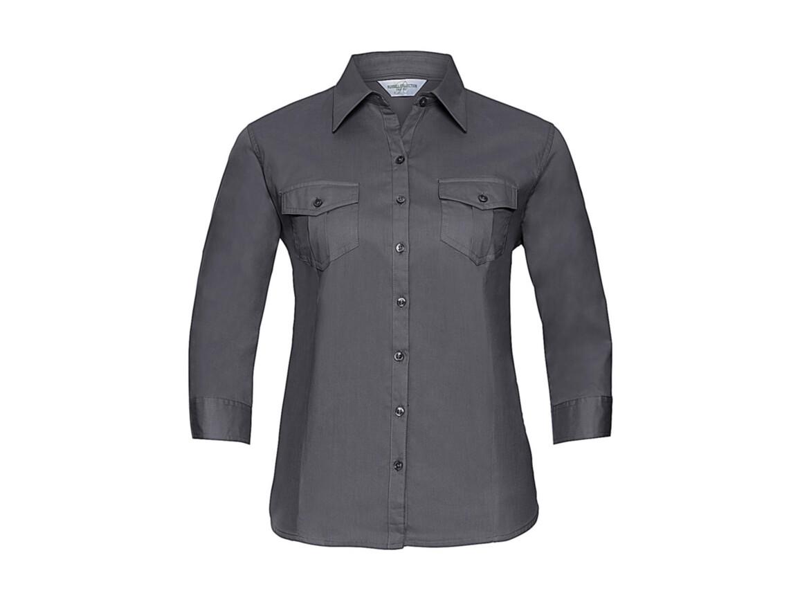 Russell Europe Ladies` Roll 3/4 Sleeve Shirt, Zinc, L (40) bedrucken, Art.-Nr. 748001125