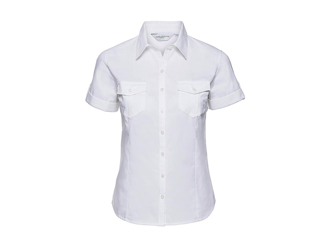 Russell Europe Ladies` Roll Sleeve Shirt, White, L (40) bedrucken, Art.-Nr. 749000005