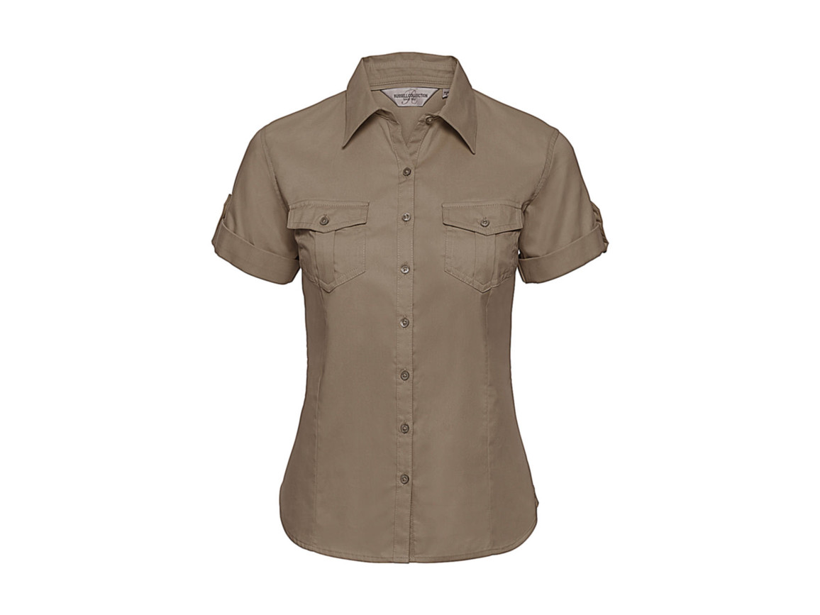 Russell Europe Ladies` Roll Sleeve Shirt, Khaki, 2XL (44) bedrucken, Art.-Nr. 749007317