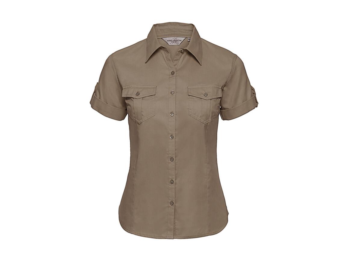 Russell Europe Ladies` Roll Sleeve Shirt, Khaki, M (38) bedrucken, Art.-Nr. 749007314