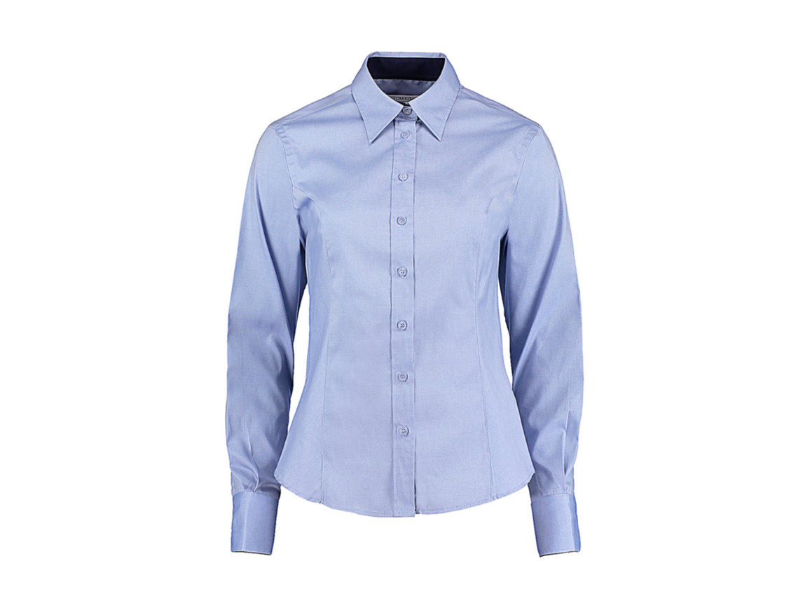 Kustom Kit Women`s Tailored Fit Premium Contrast Oxford Shirt, Light Blue/Navy, L bedrucken, Art.-Nr. 767113635