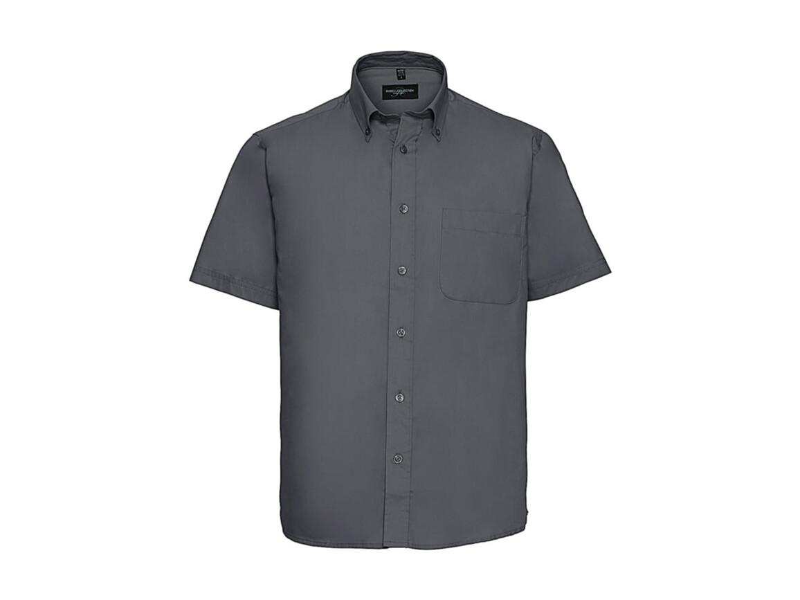 Russell Europe Short Sleeve Classic Twill Shirt, Zinc, XL bedrucken, Art.-Nr. 777001124